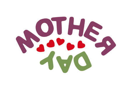 symbolic: Title MOTHERS DAY on the white background. Symbolic illustration. Mothers love.