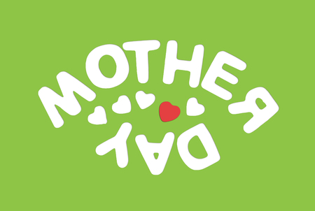 symbolic: Title MOTHERS DAY on the green background. Symbolic illustration. Mothers love. Stock Photo