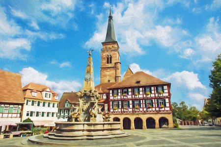 The church of Saint Johannes and Saint Martin with square, Schwabach, Bavaria, Germany. Travel destination. Illustration with colored pencils.