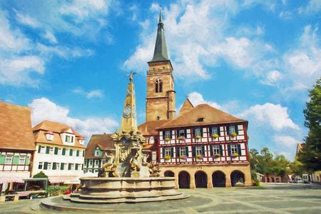 Die Kirche von Saint Johannes und St. Martin mit Platz, Schwabach, Bayern, Deutschland. Reiseziel. Illustration mit Buntstiften.