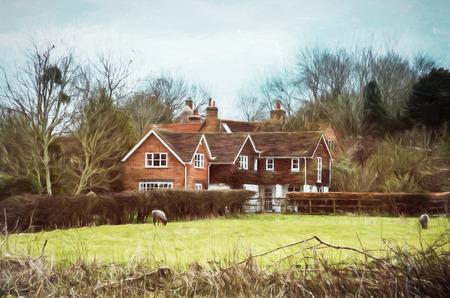 Landhaus und Schafe in England. Thema Bauernhof. Illustration mit Buntstiften.