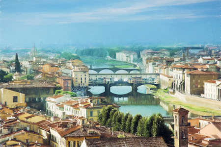 View of the beautiful city Florence with amazing bridge Ponte Vecchio,Tuscany, Italy. Travel destination. Illustration with colored pencils.