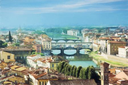 Uitzicht op de prachtige stad Florence met verbazingwekkende brug Ponte Vecchio, Toscane, Italië. Reisbestemming. Illustratie met kleurpotloden. Stockfoto - 53541719