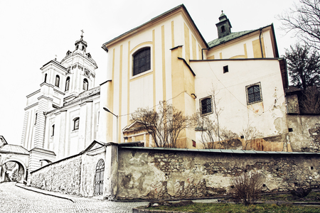 assumption: Church of the Assumption, Banska Stiavnica, Slovak republic. Illustration with pencil. Past and present. Stock Photo