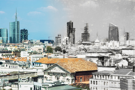 urban scene: From sketch to the modern city Milan, Italy. Illustration with charcoal. Milan is the second-most populous city in Italy, serves as the capital of Lombardy. Stock Photo