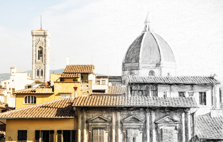 maria: From sketch to the Florence city - Cathedral Santa Maria del Fiore and Giotto's campanile, Italy. Cultural heritage. Illustration with charcoal.