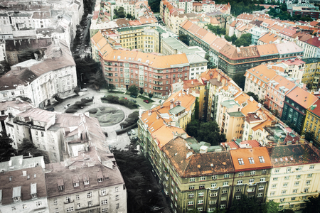 From sketch to the Prague city, Czech republic. Past and present. Old houses in the town.