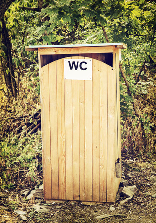 latrine: Outdoors toilet or wooden latrine or outhouse.