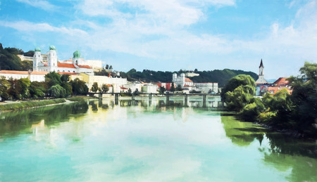 colored pencils: Passau is a town in Lower Bavaria, Germany. It is also known as the Dreiflussestadt or City of Three Rivers,. Illustration with colored pencils. Stock Photo