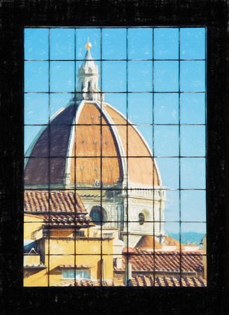 fiore: Cattedrale di Santa Maria del Fiore behind the window, Florence, Tuscany, Italy. Illustration with colored pencils.
