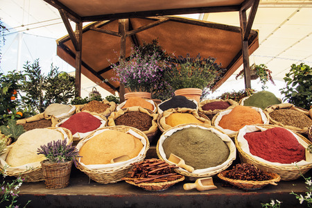 spice: Various kinds of spices in the marketplace. International cuisine.