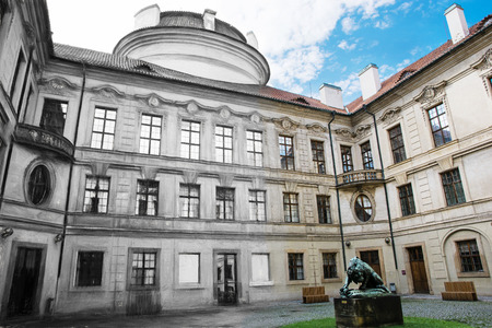 central europe: From sketch to the Sternberg palace courtyard in Prague, Czech republic, central Europe. Editorial