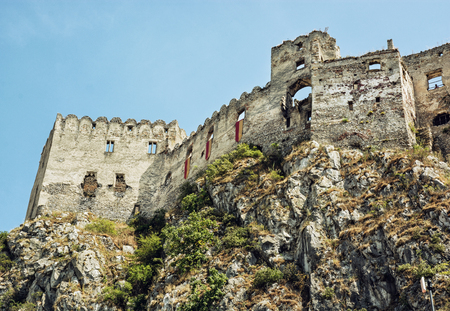 mystic place: Ruins of Beckov castle on the high rock, Slovak republic, central Europe. Beautiful place.