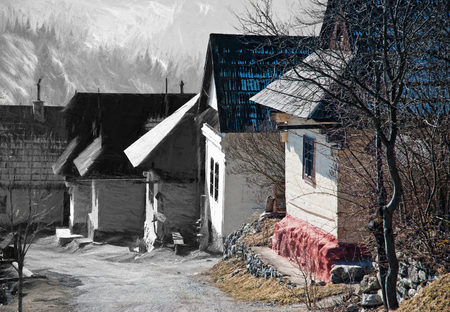 From sketch to the Vlkolinec village, Slovak republic. Art technique. Cultural heritage. Stock Photo