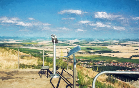 approximation: Sightseeing binoculars and slovak landscape with fields and clouds. Nitra, Slovakia. Tourism theme. Illustration with colored pencils. Stock Photo