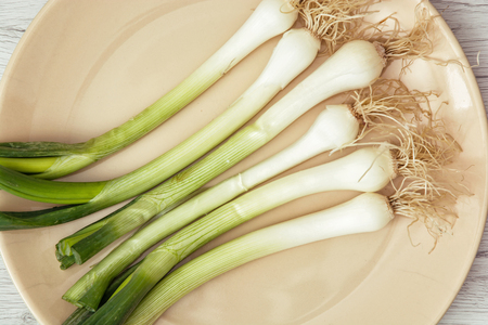 scallions: Scallions on the plate. Food theme. Healthy food. Close up photo.