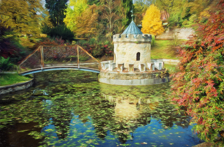 turret: Turret in Bojnice, autumn park, lake and colorful trees. Slovak republic. Seasonal natural scene with lake. Illustration with colored pencils.