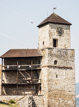 slovak: Trencin castle, Slovak republic. Travel destination. Architectural theme. Editorial