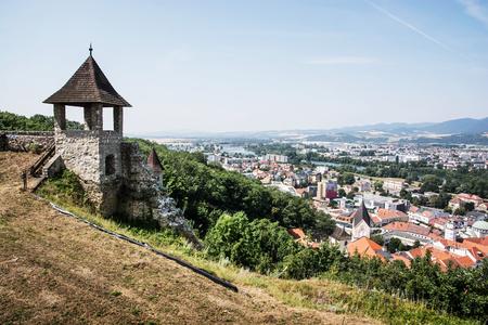 turret: Turret in castle and cityscape Trencin, Slovak republic. Travelling theme.