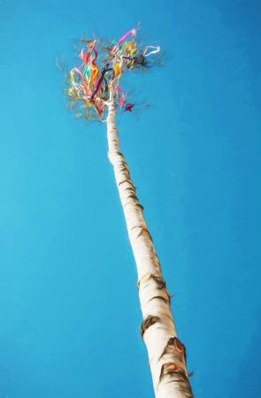 仰望美丽的符号可能杆。与色的铅笔的例证。春天的传统。艺术技术。