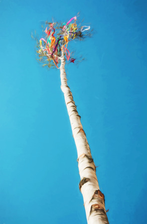 Looking up at beautiful symbolic may pole. Illustration with colored pencils. Spring traditions. Art technique.