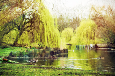 illustration technique: Saint Jamess park scene. Beautiful trees, waterfowl and lake. London, Great Britain. Illustration with colored pencils. Seasonal natural scene. Art technique.