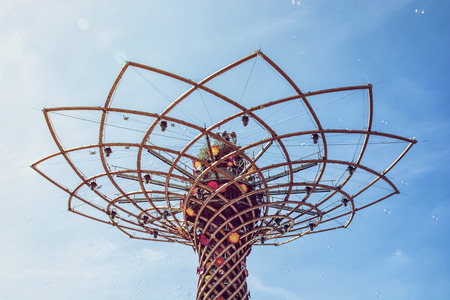 symbolic: Tree of life at exhibition Expo Milano 2015, Italy. The masterpiece to the world. Detail view. Symbolic art.