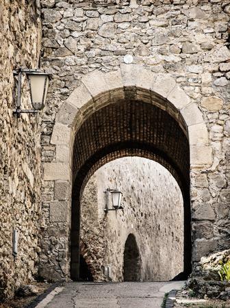 tourist destination: Entrance to the Trencin castle, Slovak republic. Architectural theme. Old castle. Tourist destination.