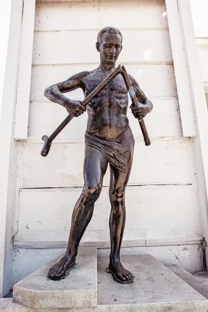 healthfulness: Crutch breaker statue, Piestany, Slovak republic. Famous spa. Symbolic object. Art scene.
