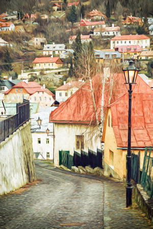 unesco: Street with ancient houses in the old town Banska Stiavnica, Slovak republic, Unesco. Cultural heritage. Illustration with colored pencils. Architectural theme. Art technique. Vertical composition.