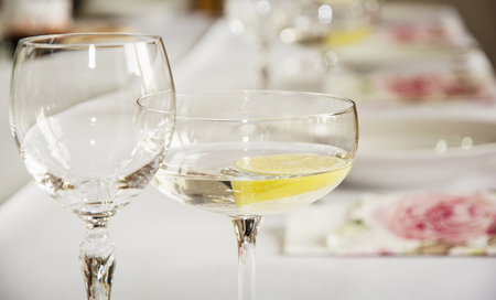 alcoholic drink: Glasses of vermouth with lemon for birthday party. Refreshments theme. Alcoholic drink. Stock Photo