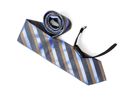 necktie: Striped necktie for men with black digital watch on the white background. Beauty and fashion. Style of modern man.