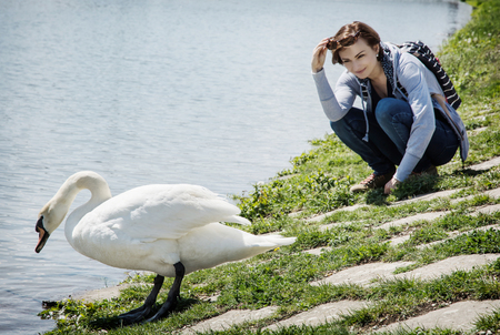 bird watching: Young woman posing with white swan on the lakeside. Beauty and nature. Bird watching theme. Natural scene.