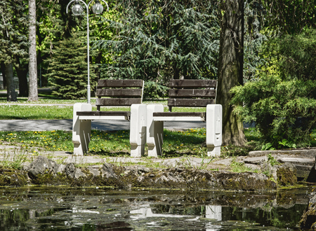 timber bench seat: Wooden benches reflecting in water in the park. Seasonal natural scene. Place to relaxation. City park in spring time. Stock Photo