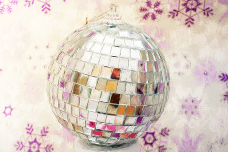 lighting technique: Mirror disco ball with winter background. Illustration with colored pencils. Luminous ball. Art technique. New year 2017.