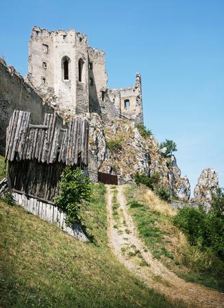 mystic place: Beckov castle ruins, Slovak republic, Europe. Architectural theme. Travel destination. Vertical composition. Beautiful historical place.