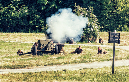 NITRA, SLOVAK REPUBLIC - MAY 21: Reconstruction of the Second World War operations Between Red and German army, russian artillery attacks enemy positions on May 21, 2016 in Nitra, Slovak Republic.