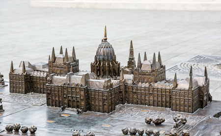 parliament building: Hungarian parliament building - Orszaghaz in Budapest, Hungary - miniature artistic model. House of the nation. Cultural heritage. Travel destination. Architectural theme.