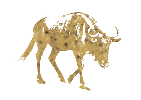 Silhouette of Blue wildebeest - Connochaetes taurinus filled with desert yellow color scheme. Natural theme. Antelope stencil. Mammal theme. Cutout stencil animal. Yellow reflections. The great migration of animals.