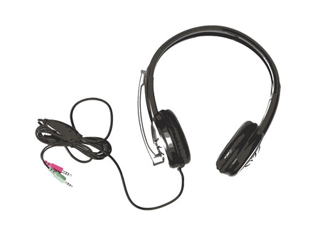 head phones: Sketch of new black headset with microphone. Home head phones. Symbolic picture of electronics.