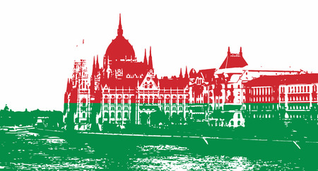 iconic architecture: Silhouette of Hungarian parliament - Orszaghaz in Budapest filled with national colors.  Red and green. Hungarian flag. Travel destination. Architectural theme.
