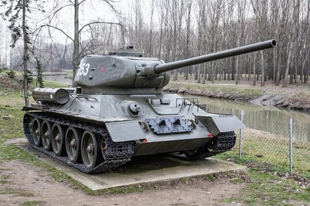 20th century: Soviet medium tank T-34-85 of the World war II. Biggest war campaign of 20th century. Exposed armored tank. War industry. Editorial