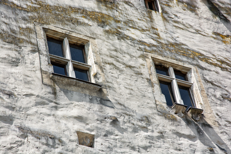 historical building: Castle wall with windows. Architectural element. Historical building.