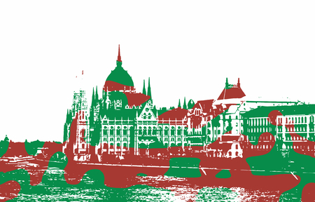 filled: Silhouette of Hungarian parliament - Orszaghaz in Budapest filled with national colors. Red and green spots. Hungarian flag. Travel destination. Architectural theme. Illustration