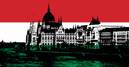 iconic architecture: Black silhouette of Hungarian parliament - Orszaghaz in Budapest filled with national colors. Hungarian flag. Travel destination. Architectural theme. Symbol of statehood.