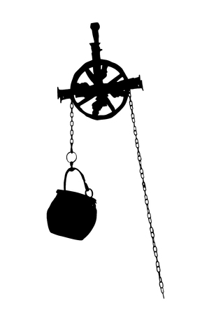 pumping: Metal bucket hanging on the pulley, black and white graphic. Symbolic mechanism. Pumping water from the well. Pick up.