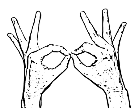 mans: Mans hands makes funny shapes. Black and white vector graphic. Body part.