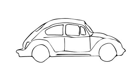iconic: Retro car vector graphic. Transportation theme. Iconic automobile scene.