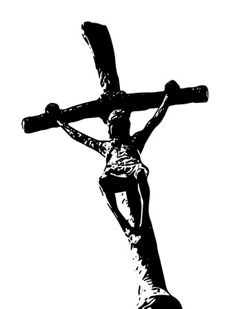 spread: Crucifixion of Jesus Christ. Black and white vector graphic. Spread of christianity. Christian symbol. Illustration