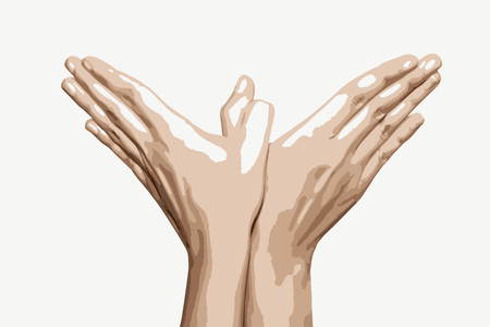 Woman's hands makes bird shape. Vector graphic. Beauty and fashion. Illustration of hands. Body part.